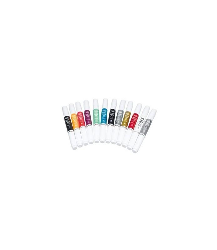 kit 12 couleurs nail art pen double applicateur
