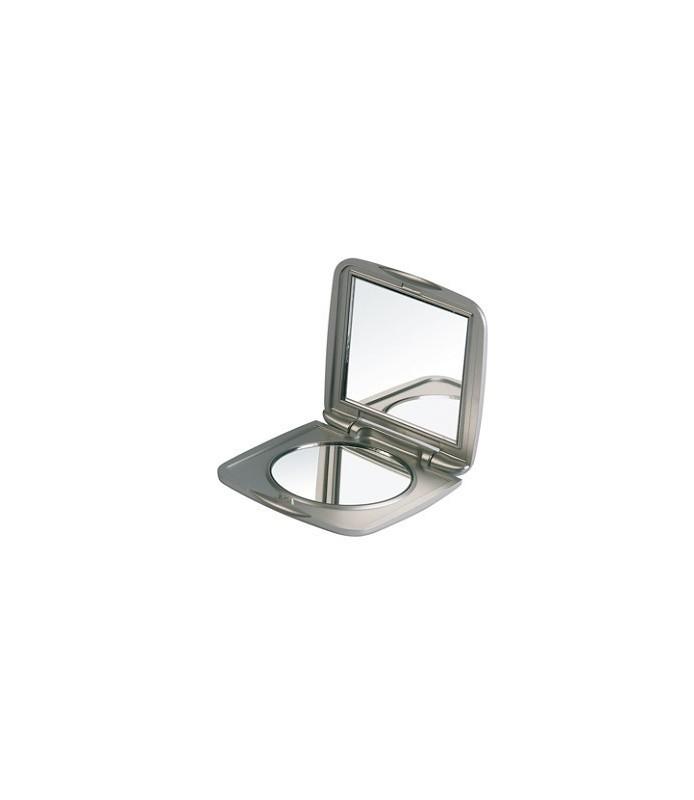 miroir de sac compact argent 72 x 72 mm