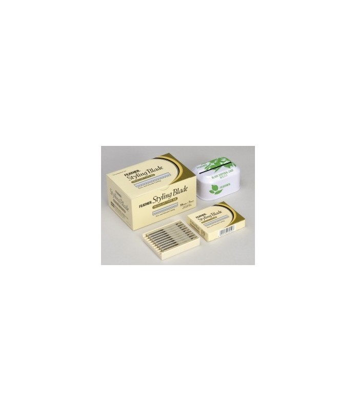 lames feather boite de 50 (5x10) + receptacle