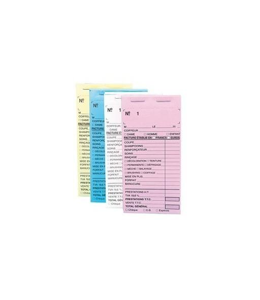 Carnets de caisse pré carbonés avec numéros JAUNE x 10pcs