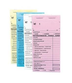 Carnets de caisse pré carbonés avec numéros BLEU x 10pcs