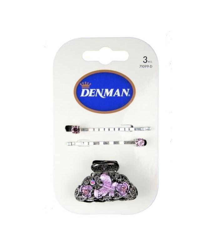 barrettes denman x 2 pince cheveux diamant