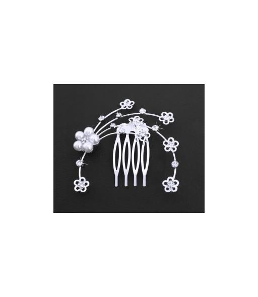 peigne 4 dents orné de fleurs et de strass