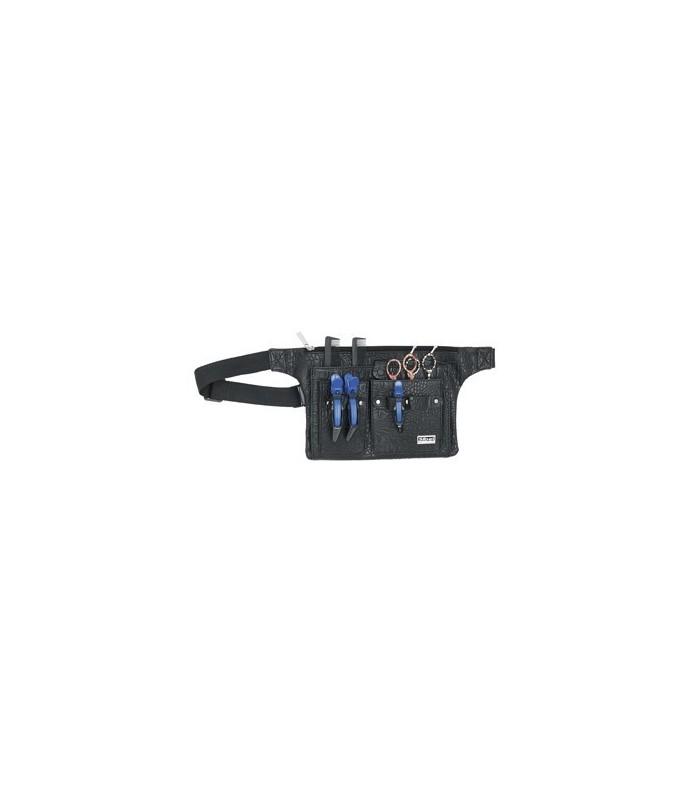 Trousse holster ceinture en croco noir matte