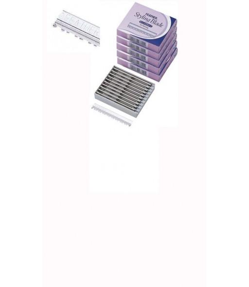 lames à effilier pour rasoir feather 5 x 10 pcs + réservoir récupérateur