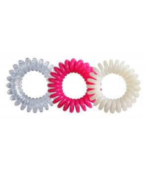 lot de 3 hair ring coloris rose-transparent blanc
