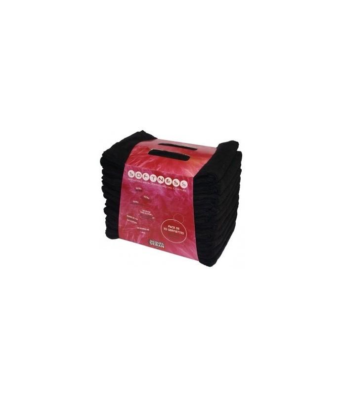 serviettes microfibres noires x 10 dimension 50x80cm