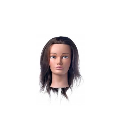 tête malléable femme cheveux brun longueur 15-35cm