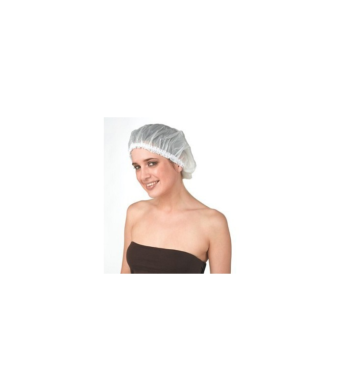 bonnet douche plastique dentelle blanc