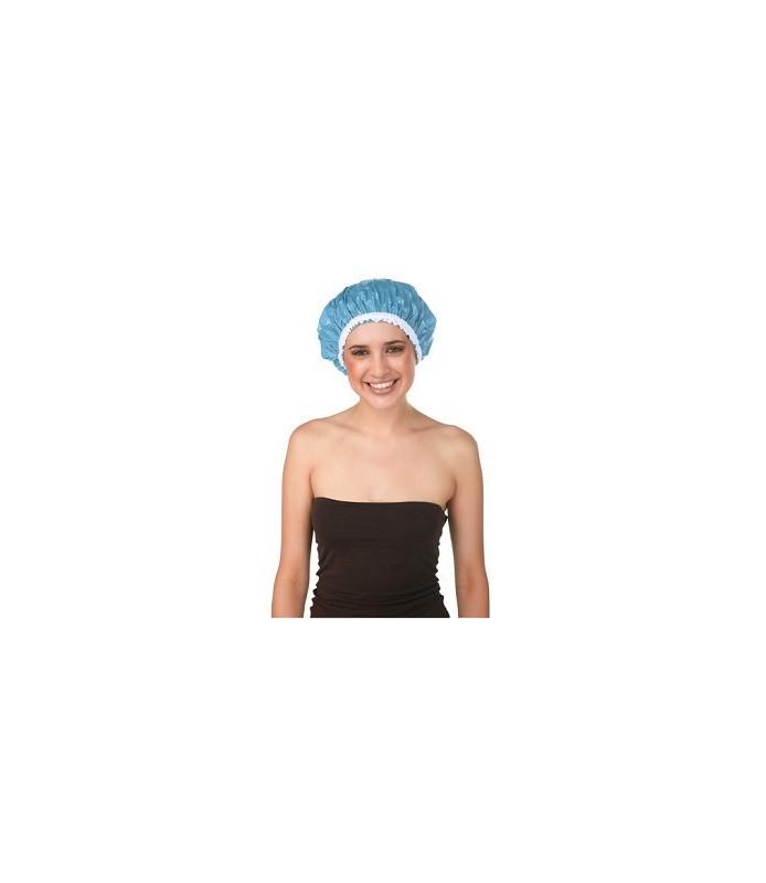 bonnet douche plastique dentelle bleu ciel