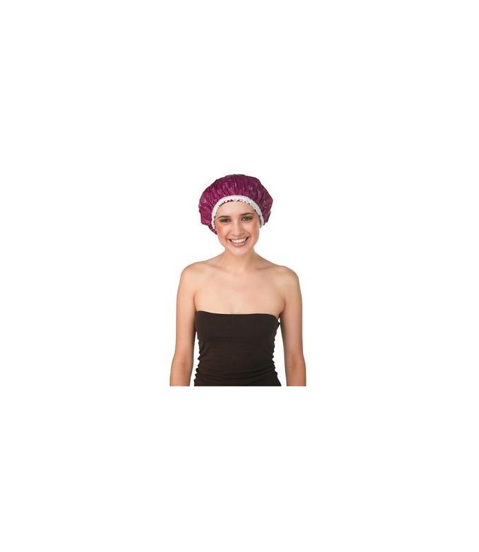 bonnet douche plastique dentelle fuchsia